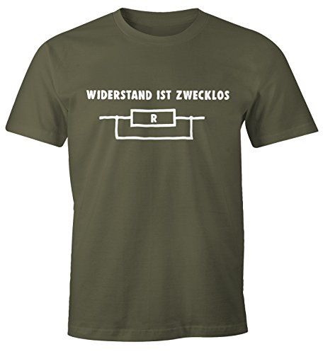 MoonWorks Widerstand ist zwecklos Shirt Herren T-Shirt Army L