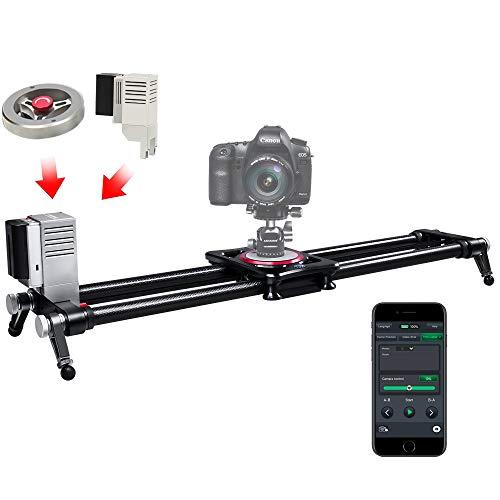 ASHANKS Motorized Camera Slider, APP Carbon Fiber Timelapse Rail Track Dolly for DSLR Photo Video Studio Photography, with Motor & Flywheel 31.5'/80cm