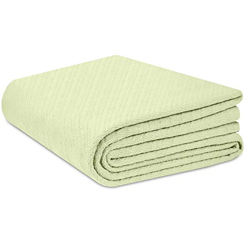 COTTON CRAFT - 100% Soft Premium Cotton Thermal Blanket - Twin Sage - Snuggle in These Super Soft Cozy Cotton Blankets - Perfect for Layering Any Bed - Provides Comfort and Warmth for Years