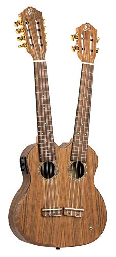 ORTEGA Hydra Series Double Neck Tenor Ukulele - Satin open pore + DeLuxe Gigbag
