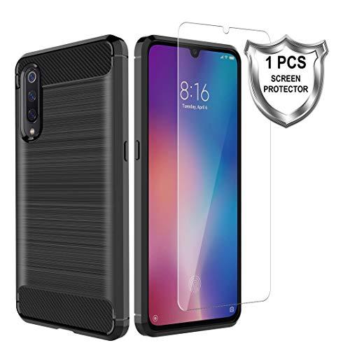 K&L LK Hülle für Xiaomi Mi 9,[Anti Fingerabdruck] Flexibel Weich TPU Slim Gebürsteter Case Cover mit Panzerglas Folie[1 Stück] für Xiaomi Mi 9 - Schwarz