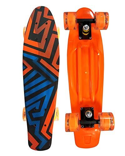 Runyi 22 inch Complete Plastic Mini Cruiser Retro Skateboard with Colorful LED Light PU Wheels for Girls Boys Kids Adult Teens Beginners (22, Orange Line)