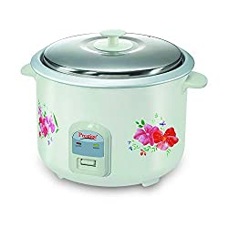 Prestige Delight Electric Rice Cooker PRWO 2.8-2 (1000 watts) with 2 aluminium cooking pans,cooks upto 1.7 kg rice