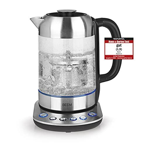 BEEM TEATIME II Tee- und Wasserkocher mit Temperatureinstellung - 1,7 L | Inklusive Teesieb Edelstahl | LED Beleuchtung | Glas & Edelstahl