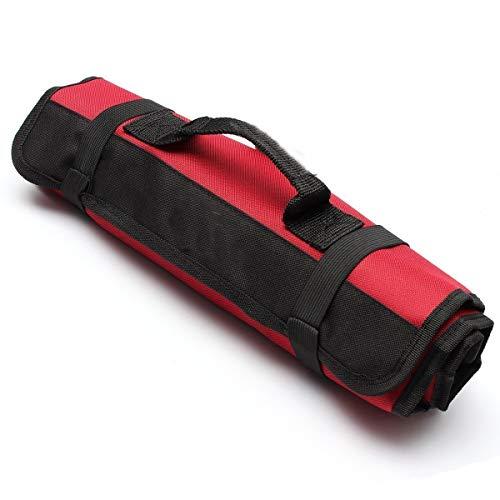 Yosso portátil 22 bolsillos de herramientas de vacío, bolsas de herramientas, organizador de herramientas, bolsa de herramientas Rollable en Oxford paño - rojo