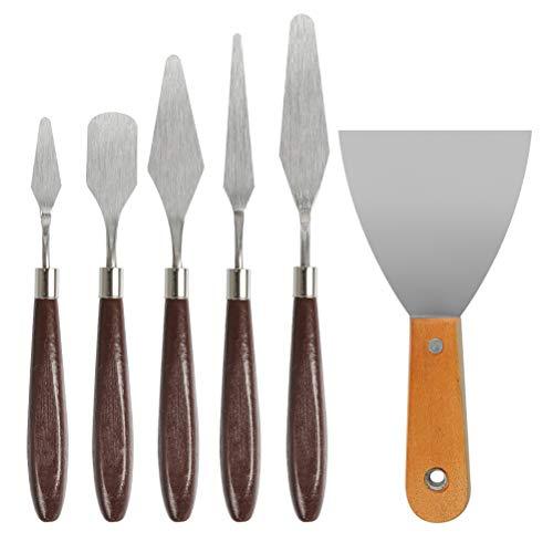 POKIENE 6 Stück Spachtel Malmesser Set, Edelstahl Palettenmesser, Spachtel Messer Malspachtel künstlerspachtel für Acryl, Öl-Malerei