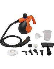 アイリスオーヤマ スチームクリーナー コンパクトタイプ 付属品16点付き 120cmロングホース 除菌 消臭 軽量 オレンジ STM-304N-D