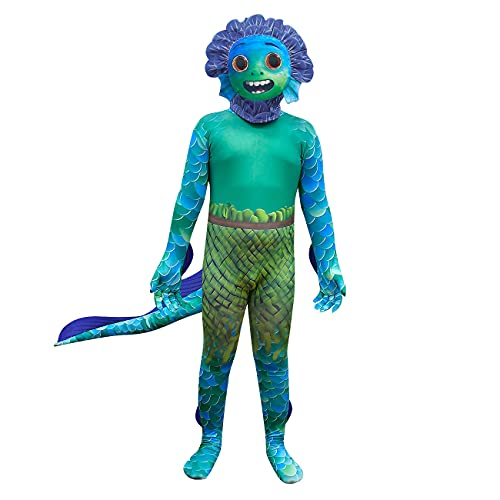 Boys Luca Costumes Toddler Halloween Cosplay Sea Monster Jumpsuits Kids Cartoon Bodysuit Boy Party Dress up with Mask Tail Baby Long Sleeve Outfits Child Funny Birthday Gifts