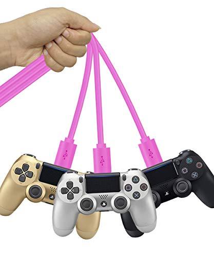 SCOVEE PS4-Controller-Ladekabel für Xbox One Dual Shock 4, kompatibel mit Samsung Galaxy S6 S7 Edge J7 J3 Note 5 4, Android Ladekabel für Playstation 4, Smartphone, 3 Stück Pink rose