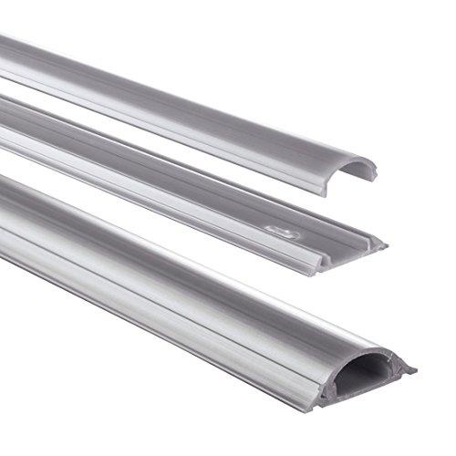 Hama Selbstklebender Kabelkanal grau (Kunstoffleiste 1 Meter Länge, für 2 Kabel, halbrunde PVC Kabelabdeckung)