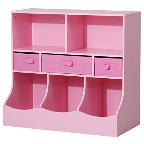 HOMCOM Estante Organizador para Juguetes Libros Estantería de Almacenamiento Habitación Infantil de 3 Niveles 8 Cajas