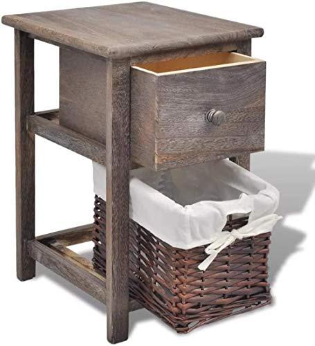 File cabinets Table de Chevet Chambre Table de Chevet avec 1 tiroir et 1 Panier en Osier, Stand de téléphone, Placard, Commode, Armoire, 28 x 31 x 45 cm Canapé Table