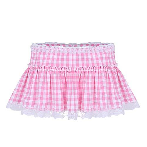 Generies Faldas cortas, Faldas, Hombres Y Mujeres Sexy Club Disfraces de Baile Falda de Slack Editado Encaje Dobladillo Plisado Plisado Cuadrados A-Palabra Minifalda XL Rosa