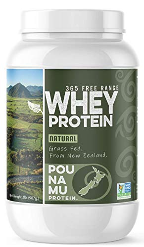 Pounamu Protein - Natural, Grass Fed Whey Protein. 365 Free Range, Non GMO Project Verified. Sourced from New Zealand. 2lb Tub.