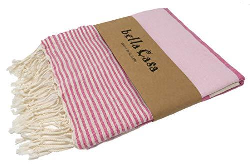 Bella Casa Apollonia Hamamtuch Saunatuch Pestemal Fouta Strandtuch Badetuch Handtuch Baumwolle Backpacker 100x180 cm (Rosa/Pink)