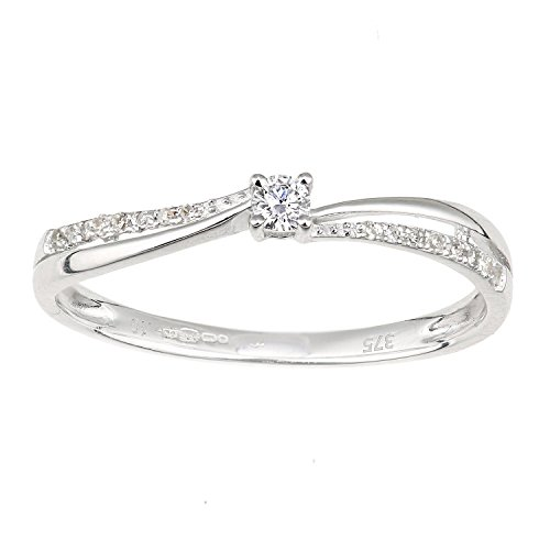 Naava Women's 9ct White Gold Diamond Shoulders Engagement Ring - Size J