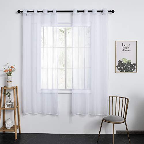 SOMFIUI Gardinen Voile Vorhang gardinenschals Transparent Store Schlafzimmer Transparent 2 Stücke 175x140 cm Weiß