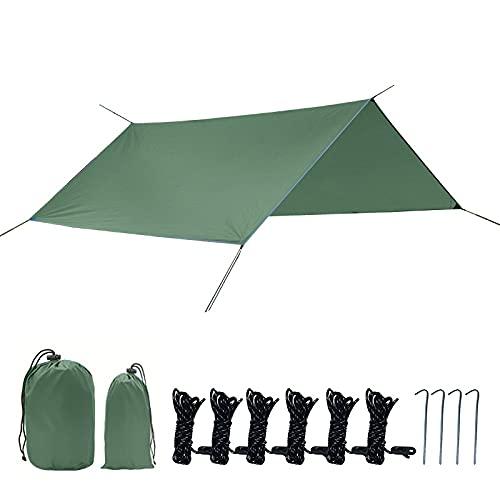Wtc Camping Tienda Tarp Camping Hamaca Lluvia Fly Tent Tarp A Prueba de Viento Afile a Prueba de Nieve Camping Tienda de campaña Refugio para la Mochila de Camping al Aire Libre Playa de Senderismo