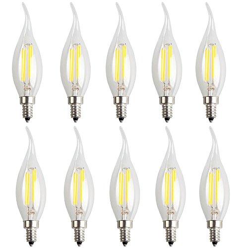 10X E14 Bombilla Filamento LED 4W LED de Edison Super Brillante C35 Bombilla Retro Vintage COB 400LM Vela del LED Blanco Frío 6500K AC 220V