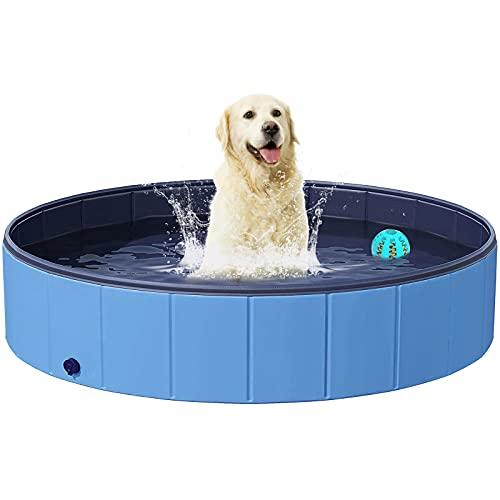 Hundepools Planschbecken für Hunde, BESTKEE Faltbarer Pool für Haustiere Welpen Kinder PVC rutschfeste Badewanne, Kunststoffplanschbecken, Geschenk mit Hundespielzeugball