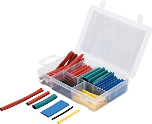 Kraftmann 88150 | Schrumpfschlauch-Sortiment | 90-tlg | farbig | Verhältnis 2:1 | 6 Größen | im Sortimentskasten
