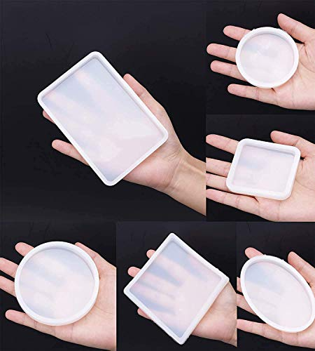 Fashionclubs 6 Pack Big Designs Resin Molds,Square Round Silicone Jewelry Casting Molds Coaster Molds for Resin Jewelry Making DIY Craft