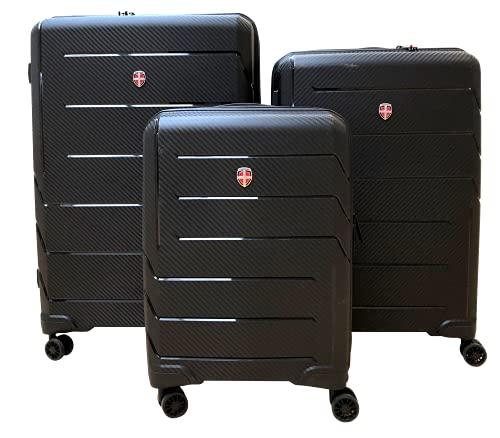 Ellehammer - Juego de maletas Edge de 20'/56cm (34L) 25'/70cm (70L) y 29'/79cm (103L) - Negro - Diseño minimalista atemporal y material resistente ABS/PC - Cerradura de combinación TSA fija