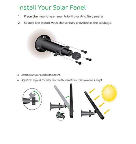 Arlo VMA4600-10000S Certified Accessory - Solar Panel | Compatible with Pro, Pro 2 Black