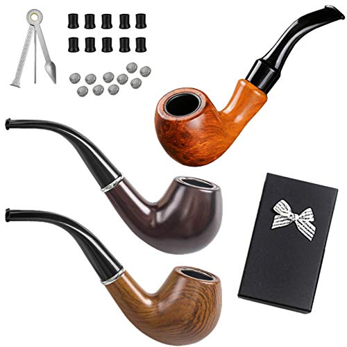 roygra Tobacco Smoking Pipe Kit 3 Pack Bakelite Set Included 21 pcs Accessories Tools with Gift Box (C - 3 Pack Set)
