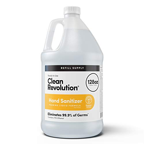 Clean Revolution Dreamy Citrus Liquid Hand Sanitizer {70% Alcohol}, Refill Bottle, 128 Fluid Ounce Ready to Use Formula (Use directly on hands or to refill any container)