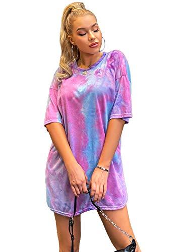 Floerns Women's Casual Short Sleeve Tie Dye Loose Tunic Tee Shirt Dress