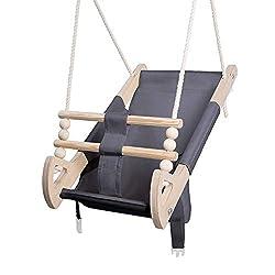 Stoffschaukel Kinder für Kinder mit Sitzgurt   Kleinkindschaukel für Draußen aus Holz und Baumwolle   Baby Hängeschaukel modernes Design   100% ECO   Made in EU