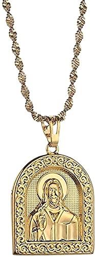YOUZYHG co.,ltd Collar de Color Dorado con Retrato de Collares Pendientes para Mujer, niña, religión Cristiana, Regalo de joyería