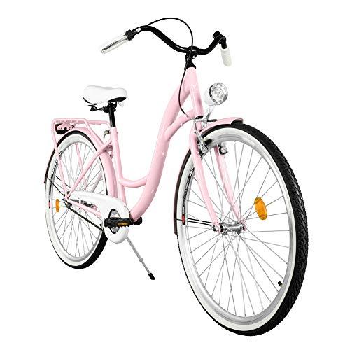 Milord. Komfort Fahrrad mit Gepäckträger, Hollandrad, Damenfahrrad, 3-Gang, Rosa, 28 Zoll