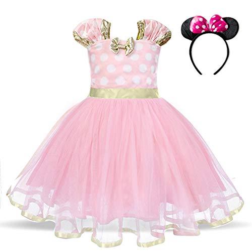 TTYAOVO Bebé Niñas Lunares Princesa Tutú Vestido Cosplay Desfile Carnaval Disfraz Elegante Tamaño120 (4-5 años) 321 Rosa