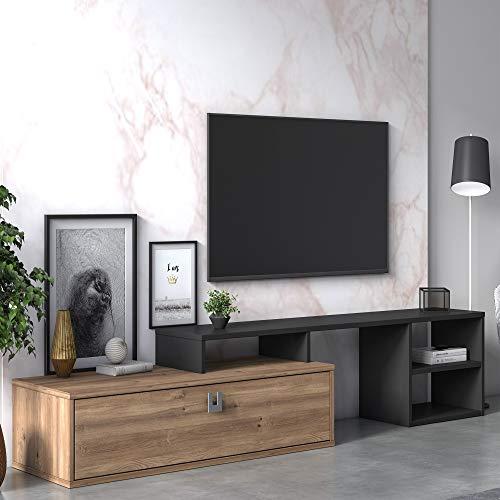 Dmora Mobile da Soggiorno Porta TV Regolabile, cm 160 x 40 x 38, Colore, Antracite e Quercia