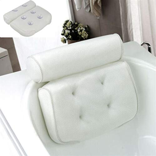 HDCRAFTER Almohada de baño, antideslizante, 6 ventosas grandes, ayuda a apoyar la cabeza, espalda, hombros y cuello, se adapta a todas las bañeras, jacuzzi (33 x 10 x 36)