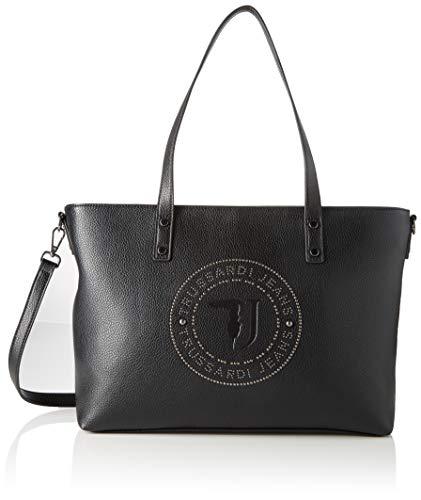 Trussardi Jeans Harper Shopper Lg Tumbled Ecol, Borsa a spalla Donna, Nero (Blac/Gunmetal), 28x15x37 cm (W x H x L)