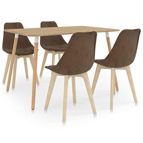 vidaXL Essgruppe 5-TLG. Esszimmergruppe Esszimmergarnitur Esstischset Tischset Sitzgruppe Küchentisch Esstisch Esszimmertisch mit 4 Stühlen Braun