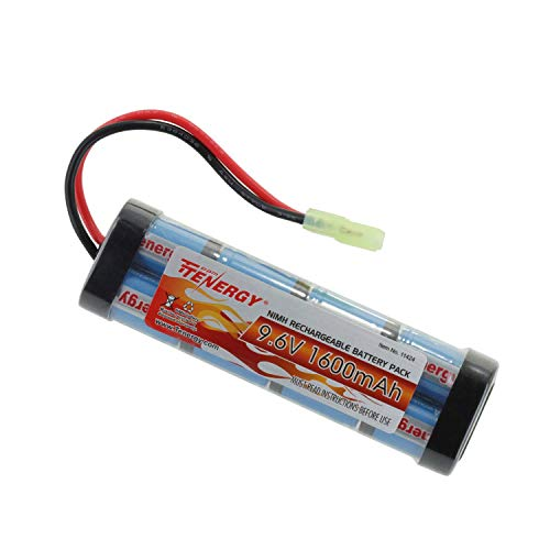 Tenergy 9.6V Airsoft Battery High Capacity 1600mAh NiMH Flat Battery Pack w/Mini Tamiya Connector for Airsoft Guns MP5, Scar, M249, M240B, M60, G36, M14, RPK, PKM