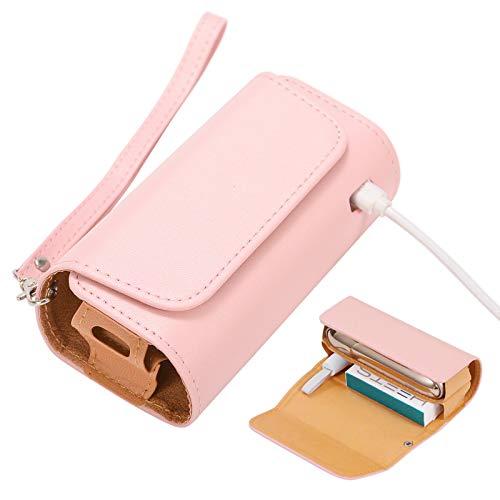 ZITFRI Custodia Protettiva per Sigarette Elettroniche, Compatibile con Iqos 3 e Iqos 3 Duo, Astuccio in Tela e Pelle PU, Iqos Accessori, Rosa