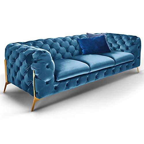 Designer Chesterfield Sofas Superior Couch Samt-Stoff goldene Füße Luxus Möbel (Türkis, 3-Sitzer)