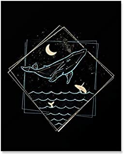 Whale Constellation Art Print Nautical Whimsical Surreal Ocean Lover Sea Creature Wall Art Underwater Marine Life Fish Crescent Moon Stars Inspirational Calming Home Decor 8 x 10 Inches