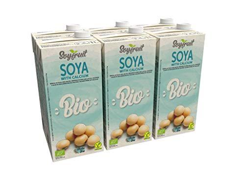 Soyfruit - Bebida de soja ecológica enriquecida con calcio, 1L (paquete de 6)