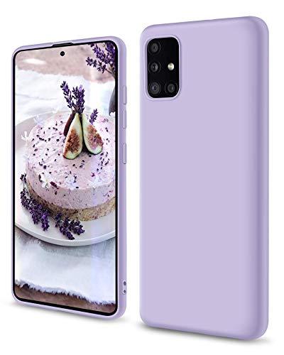 SouliGo Samsung Galaxy A51 Hülle, Samsung Galaxy A51 Handyhülle Silikon Gel Slim Hülle Cover Flüssigsilikon mit Innenfutter Mikrofaser Kratzfest Hülle für Samsung Galaxy A51 4G Lavendel Lila