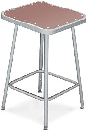 National Public Seating 6324H Grey Height Adjustable Steel Stool with Square Hardboard Seat,  25-33