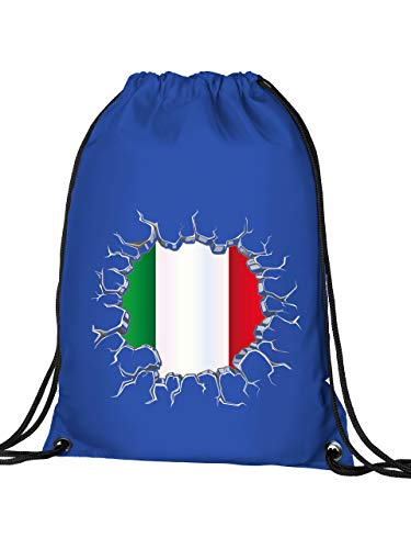 Golebros Italien Italia Italy Fan Artikel 5726 Fuss Ball Turn Sport Beutel Unisex EM 2020 WM 2022 Trikot Look Flagge Fahne Kinder Kids Junge Mädchen Blau