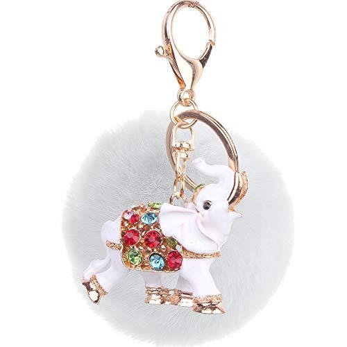 Weiche8CmPlüsch Diamant Metall Baby Elefant Schlüsselbund Paar Tasche Handy Zubehör Weiß+WeißFellBall