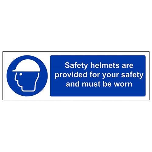 """vsafety 41011ax-r""""Cascos de seguridad son siempre para su seguridad y debe llevarse"""" obligatorio EPI Sign, plástico rígido, paisaje, 300mm x 100mm, color azul"""