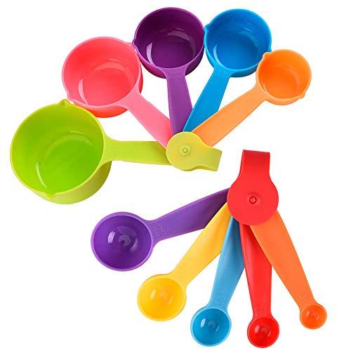 Gativs Juegos de 10 Medidores Cocina Cucharas Medidoras Tazas Medidoras Taza y Cuchara de Medición Medidoras Plástico, Multicolor